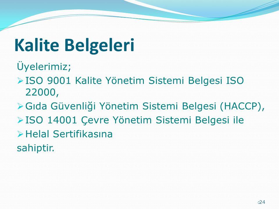 Kalite Belgeleri Üyelerimiz;  ISO 9001 Kalite Yönetim Sistemi Belgesi ISO 22000,  Gıda Güvenliği Yönetim Sistemi Belgesi (HACCP),  ISO 14001 Çevre