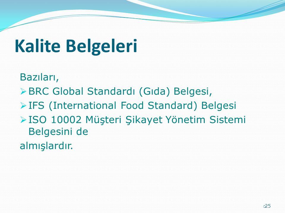 Kalite Belgeleri Bazıları,  BRC Global Standardı (Gıda) Belgesi,  IFS (International Food Standard) Belgesi  ISO 10002 Müşteri Şikayet Yönetim Sist