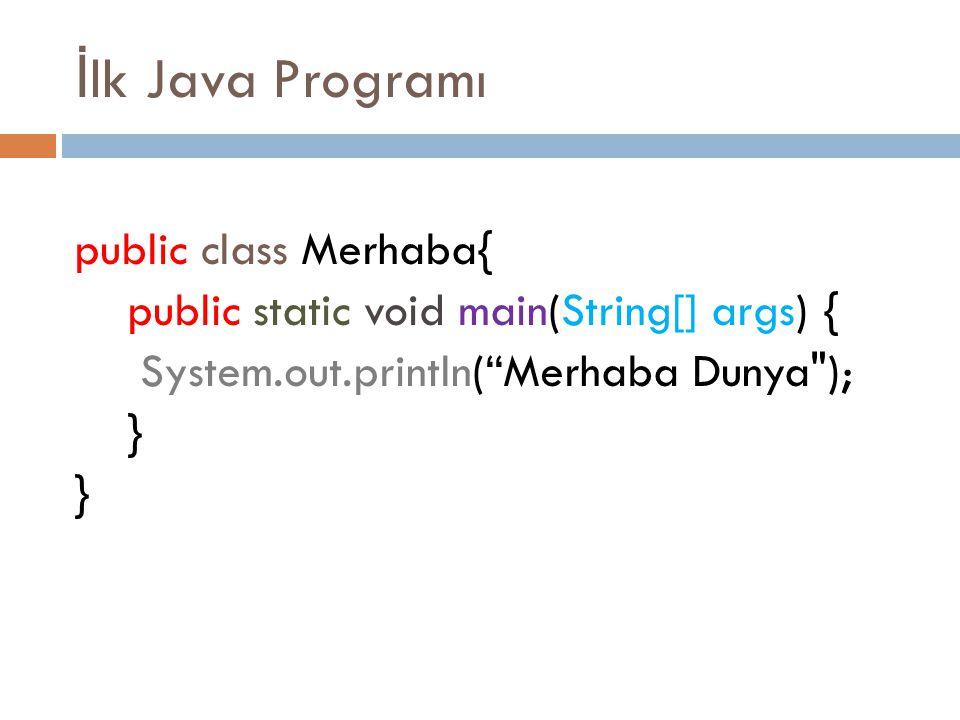 "İ lk Java Programı public class Merhaba{ public static void main(String[] args) { System.out.println(""Merhaba Dunya"