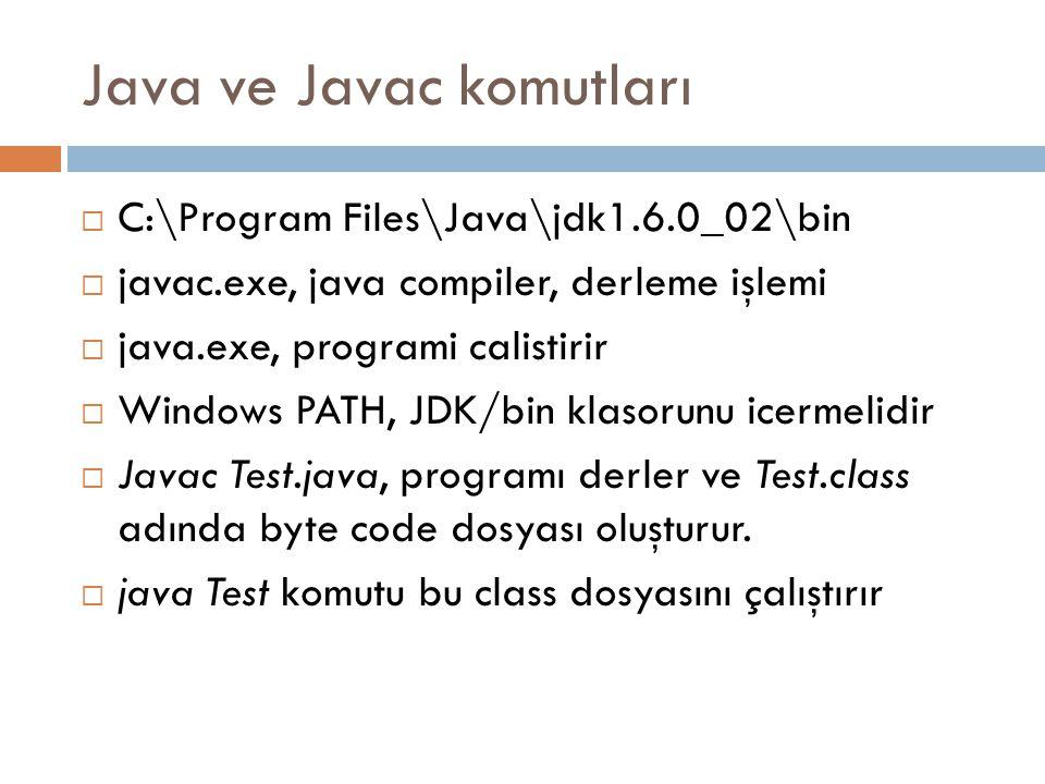 Java ve Javac komutları  C:\Program Files\Java\jdk1.6.0_02\bin  javac.exe, java compiler, derleme işlemi  java.exe, programi calistirir  Windows PATH, JDK/bin klasorunu icermelidir  Javac Test.java, programı derler ve Test.class adında byte code dosyası oluşturur.