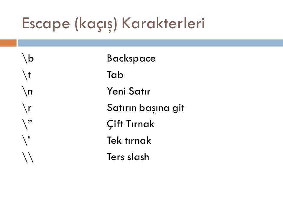 Escape (kaçış) Karakterleri \bBackspace \tTab \nYeni Satır \rSatırın başına git \ Çift Tırnak \'Tek tırnak \\Ters slash