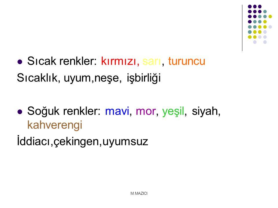 Sıcak renkler: kırmızı, sarı, turuncu Sıcaklık, uyum,neşe, işbirliği Soğuk renkler: mavi, mor, yeşil, siyah, kahverengi İddiacı,çekingen,uyumsuz M.MAZ