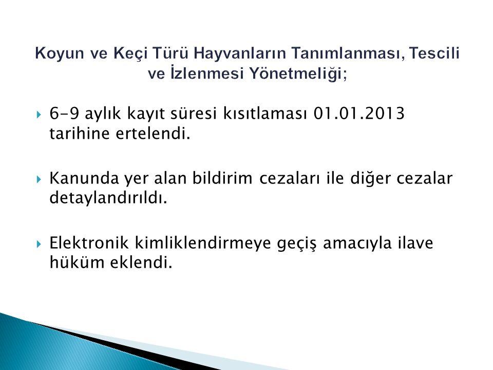  6-9 aylık kayıt süresi kısıtlaması 01.01.2013 tarihine ertelendi.  Kanunda yer alan bildirim cezaları ile diğer cezalar detaylandırıldı.  Elektron