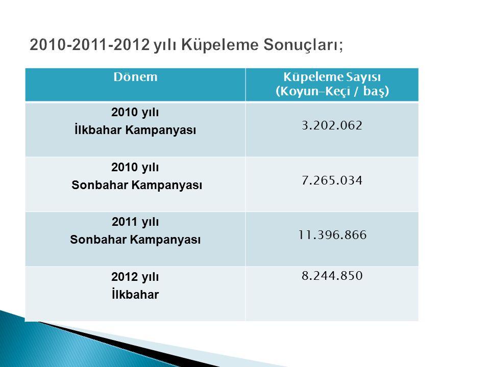 DönemKüpeleme Sayısı (Koyun-Keçi / baş) 2010 yılı İlkbahar Kampanyası 3.202.062 2010 yılı Sonbahar Kampanyası 7.265.034 2011 yılı Sonbahar Kampanyası