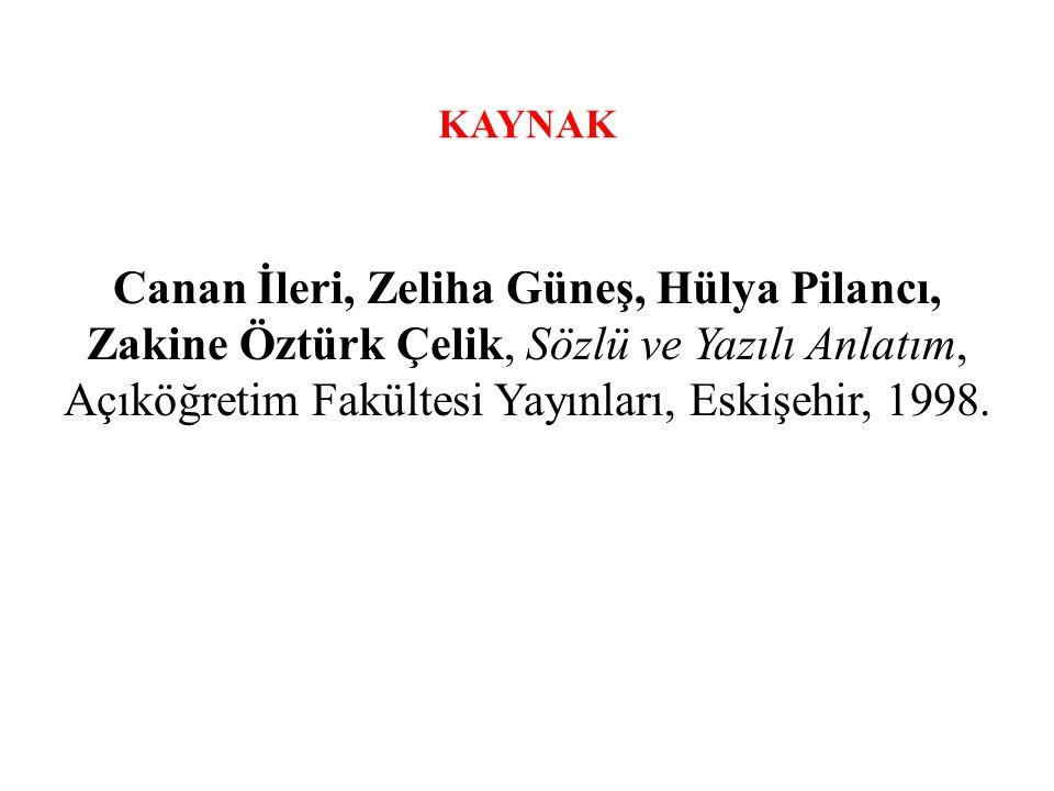 KAYNAK Canan İleri, Zeliha Güneş, Hülya Pilancı, Zakine Öztürk Çelik, Sözlü ve Yazılı Anlatım, Açıköğretim Fakültesi Yayınları, Eskişehir, 1998.