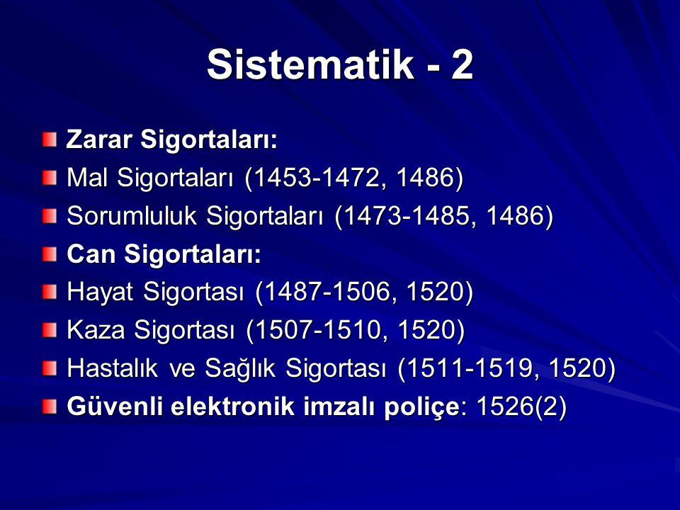 Sistematik - 2 Zarar Sigortaları: Mal Sigortaları (1453-1472, 1486) Sorumluluk Sigortaları (1473-1485, 1486) Can Sigortaları: Hayat Sigortası (1487-1506, 1520) Kaza Sigortası (1507-1510, 1520) Hastalık ve Sağlık Sigortası (1511-1519, 1520) Güvenli elektronik imzalı poliçe: 1526(2)