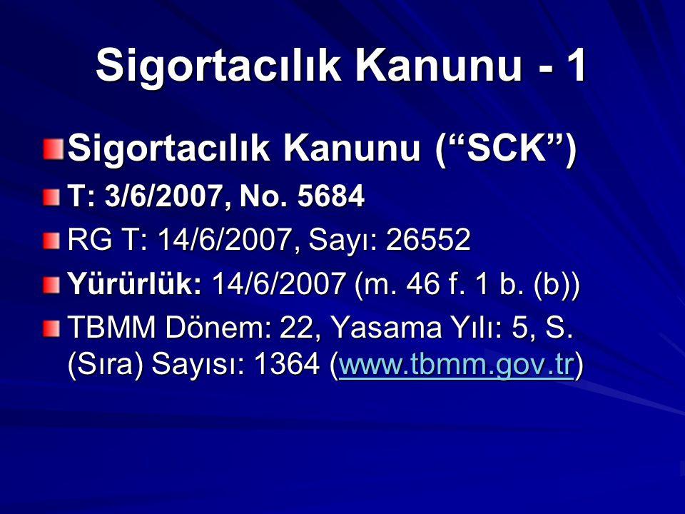 """Sigortacılık Kanunu - 1 Sigortacılık Kanunu (""""SCK"""") T: 3/6/2007, No. 5684 RG T: 14/6/2007, Sayı: 26552 Yürürlük: 14/6/2007 (m. 46 f. 1 b. (b)) TBMM Dö"""