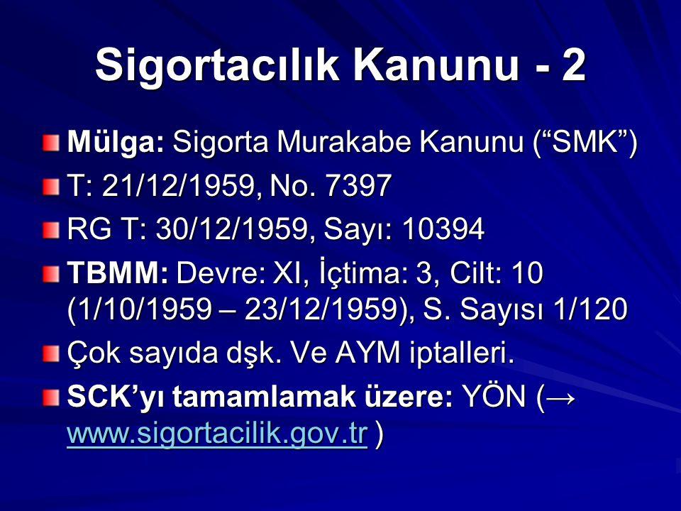"Sigortacılık Kanunu - 2 Mülga: Sigorta Murakabe Kanunu (""SMK"") T: 21/12/1959, No. 7397 RG T: 30/12/1959, Sayı: 10394 TBMM: Devre: XI, İçtima: 3, Cilt:"
