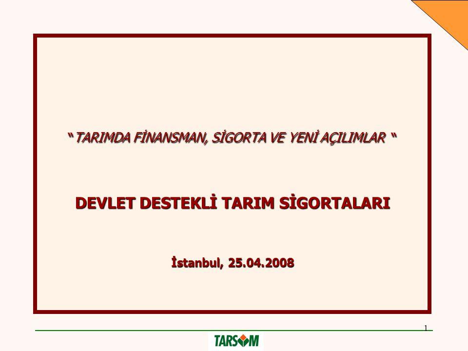 """1 """"TARIMDA FİNANSMAN, SİGORTA VE YENİ AÇILIMLAR """" DEVLET DESTEKLİ TARIM SİGORTALARI İstanbul, 25.04.2008"""