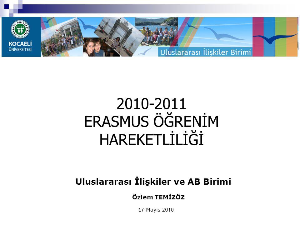 Uluslararası İlişkiler ve AB Birimi Özlem TEMİZÖZ 1 7 Mayıs 20 10 2010-2011 ERASMUS ÖĞRENİM HAREKETLİLİĞİ