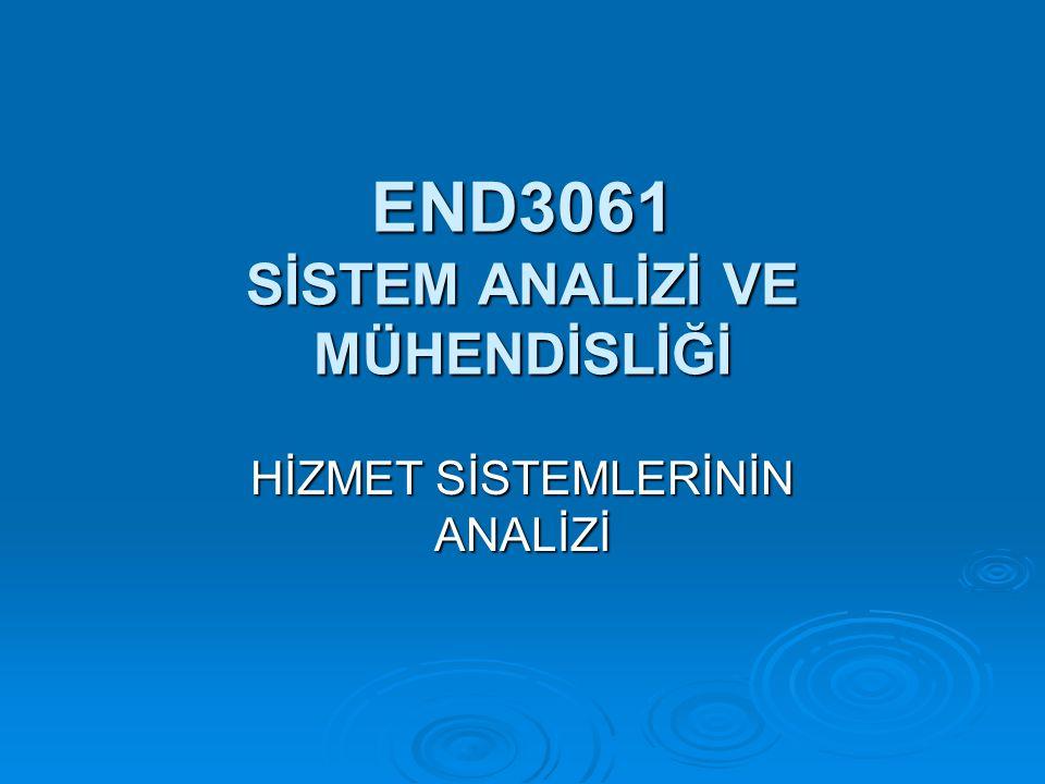 END3061 SİSTEM ANALİZİ VE MÜHENDİSLİĞİ HİZMET SİSTEMLERİNİN ANALİZİ