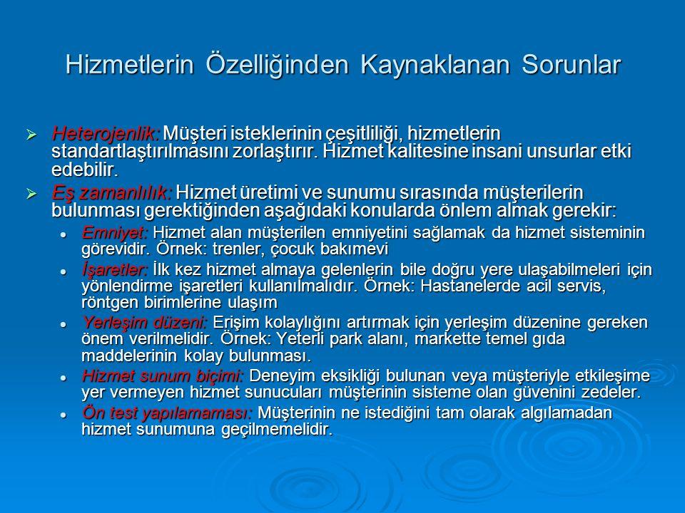 Hizmetlerin Özelliğinden Kaynaklanan Sorunlar  Heterojenlik: Müşteri isteklerinin çeşitliliği, hizmetlerin standartlaştırılmasını zorlaştırır. Hizmet
