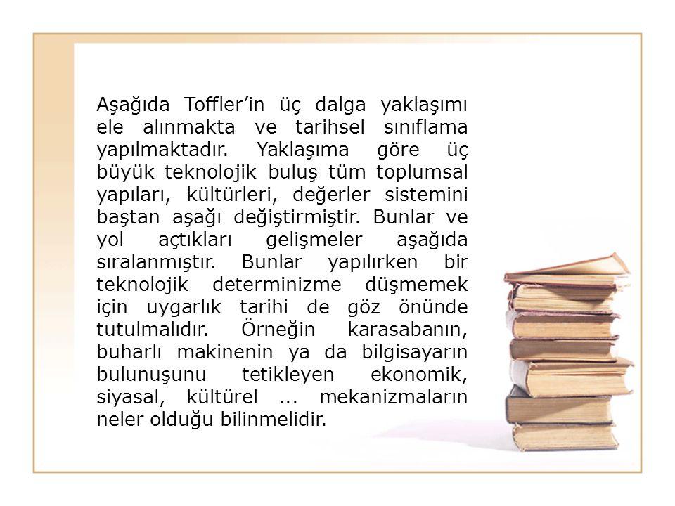 Aşağıda Toffler'in üç dalga yaklaşımı ele alınmakta ve tarihsel sınıflama yapılmaktadır.