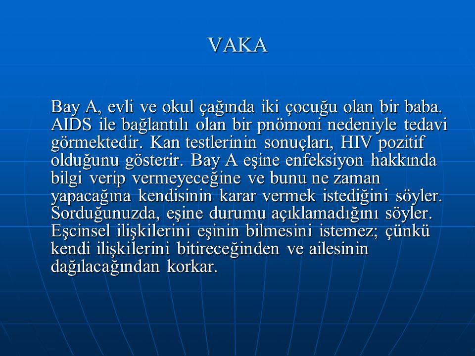 VAKA Bay A, evli ve okul çağında iki çocuğu olan bir baba. AIDS ile bağlantılı olan bir pnömoni nedeniyle tedavi görmektedir. Kan testlerinin sonuçlar
