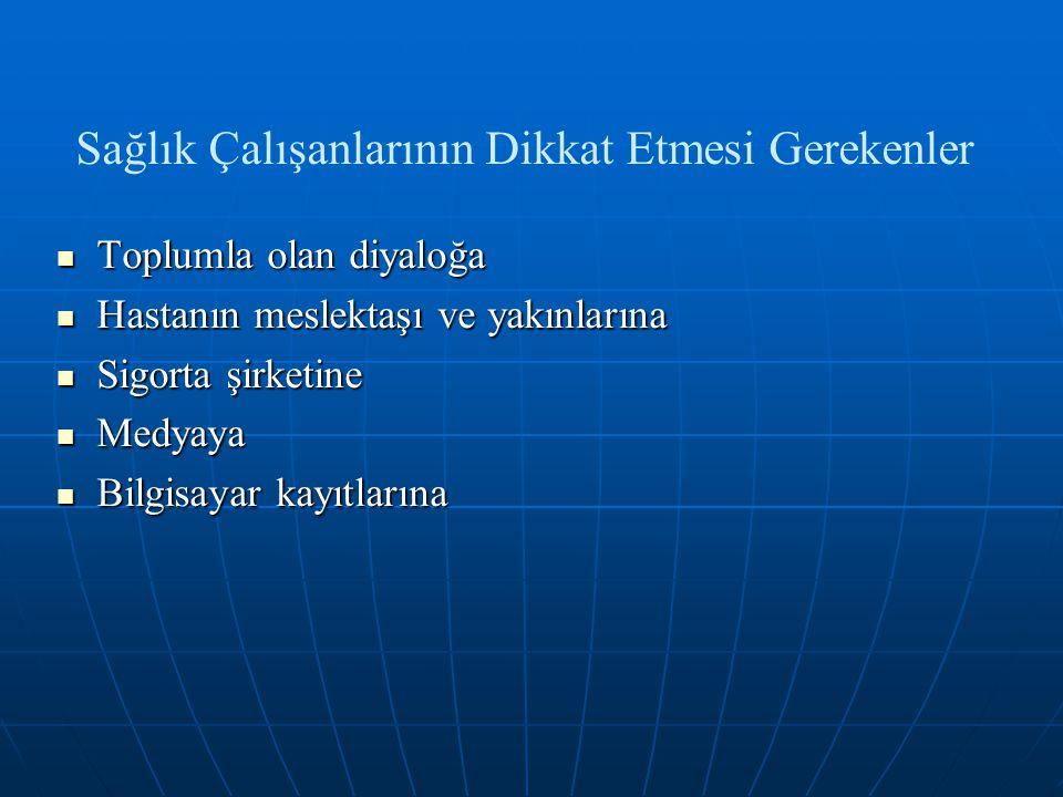 Yasal Dayanak Uluslararası Hekimlik Etiği Kuralları (WMA) Uluslararası Hekimlik Etiği Kuralları (WMA) Tababet ve Şuabatı Sanatlarının Tarzı İcrasına Dair Kanun Tababet ve Şuabatı Sanatlarının Tarzı İcrasına Dair Kanun Tıbbi Deontoloji Tüzüğü Tıbbi Deontoloji Tüzüğü Hasta Hakları Yönetmeliği Hasta Hakları Yönetmeliği Türk Ceza Kanunu Türk Ceza Kanunu TTB Hekimlik Meslek Etiği Kuralları TTB Hekimlik Meslek Etiği Kuralları