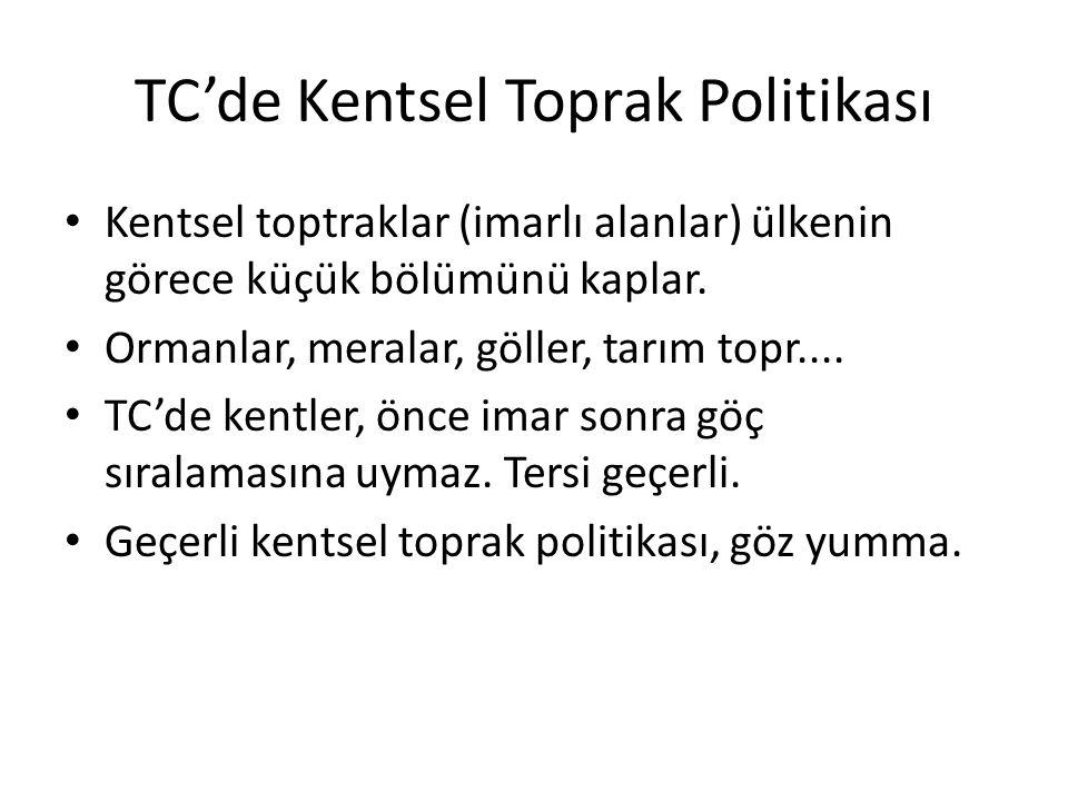 TC'de Kentsel Toprak Politikası Kentsel toptraklar (imarlı alanlar) ülkenin görece küçük bölümünü kaplar. Ormanlar, meralar, göller, tarım topr.... TC