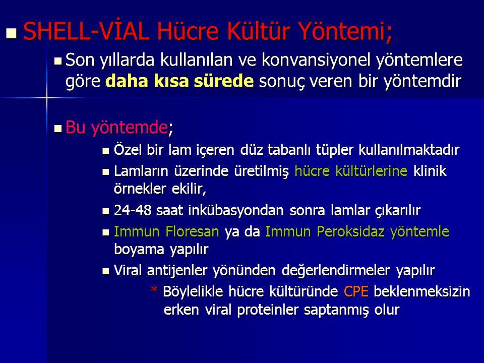 SHELL-VİAL Hücre Kültür Yöntemi; SHELL-VİAL Hücre Kültür Yöntemi; Son yıllarda kullanılan ve konvansiyonel yöntemlere göre daha kısa sürede sonuç vere