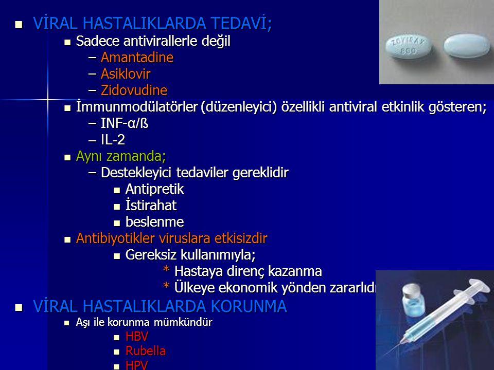 VİRAL HASTALIKLARDA TEDAVİ; VİRAL HASTALIKLARDA TEDAVİ; Sadece antivirallerle değil Sadece antivirallerle değil –Amantadine –Asiklovir –Zidovudine İmm