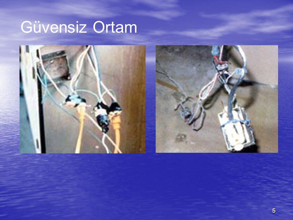 6 GÜVENSİZ ORTAM  Elektrik tesisatının güvenli olmaması  Elektrik ekipmanının güvenli ve uygun seçilmemesi  Elektrik ekipmanının aşırı derecede ısınması  Elektrikli aletlerin kısa devre yapması  Elektrikli aletlerin aşırı derecede yüklenmesi
