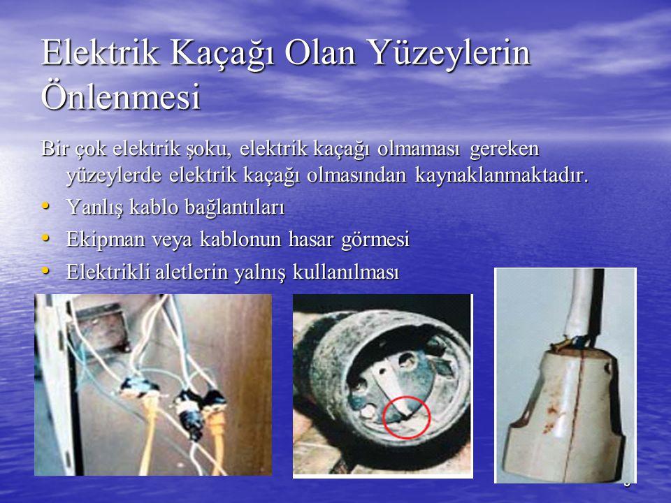 9 Elektrik Kaçağı Olan Yüzeylerin Önlenmesi Bir çok elektrik şoku, elektrik kaçağı olmaması gereken yüzeylerde elektrik kaçağı olmasından kaynaklanmak