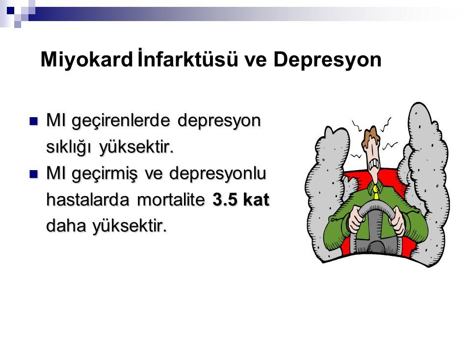 Miyokard İnfarktüsü ve Depresyon MI geçirenlerde depresyon MI geçirenlerde depresyon sıklığı yüksektir.