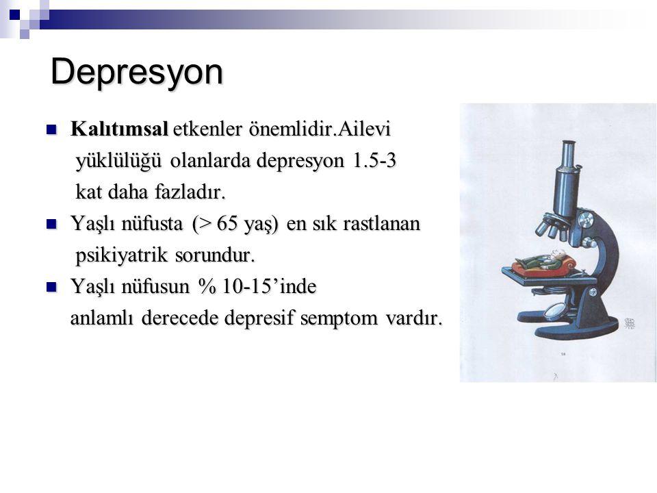 Depresyon Kalıtımsal etkenler önemlidir.Ailevi Kalıtımsal etkenler önemlidir.Ailevi yüklülüğü olanlarda depresyon 1.5-3 yüklülüğü olanlarda depresyon 1.5-3 kat daha fazladır.
