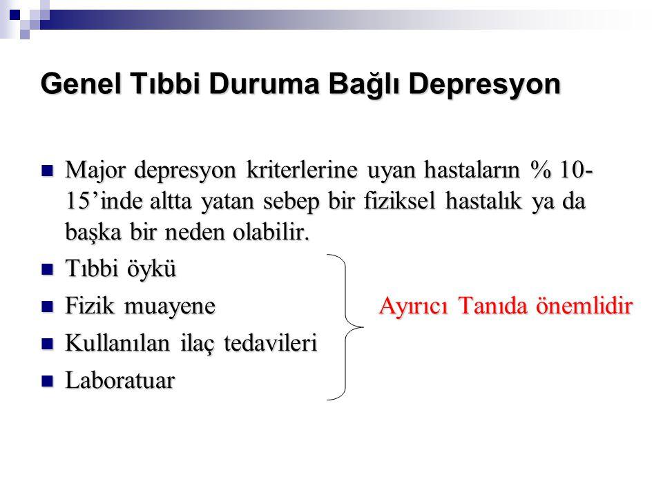 Genel Tıbbi Duruma Bağlı Depresyon Major depresyon kriterlerine uyan hastaların % 10- 15'inde altta yatan sebep bir fiziksel hastalık ya da başka bir neden olabilir.