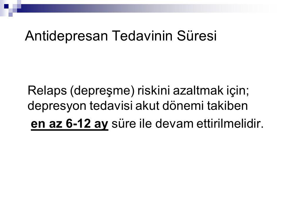 Antidepresan Tedavinin Süresi Relaps (depreşme) riskini azaltmak için; depresyon tedavisi akut dönemi takiben en az 6-12 ay süre ile devam ettirilmelidir.
