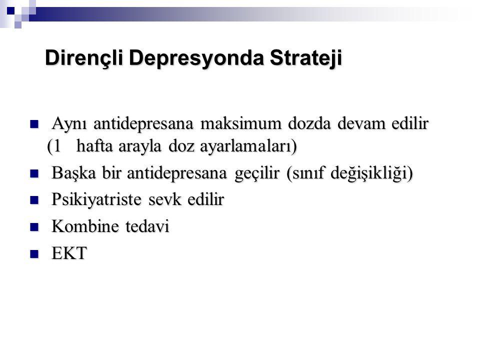 Dirençli Depresyonda Strateji Aynı antidepresana maksimum dozda devam edilir (1 hafta arayla doz ayarlamaları) Aynı antidepresana maksimum dozda devam edilir (1 hafta arayla doz ayarlamaları) Başka bir antidepresana geçilir (sınıf değişikliği) Başka bir antidepresana geçilir (sınıf değişikliği) Psikiyatriste sevk edilir Psikiyatriste sevk edilir Kombine tedavi Kombine tedavi EKT EKT
