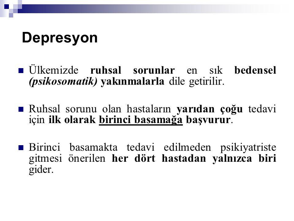 Depresyon Ülkemizde ruhsal sorunlar en sık bedensel (psikosomatik) yakınmalarla dile getirilir.