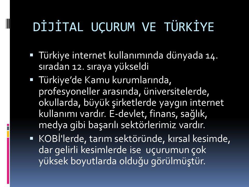 DİJİTAL UÇURUM VE TÜRKİYE  Türkiye internet kullanımında dünyada 14. sıradan 12. sıraya yükseldi  Türkiye'de Kamu kurumlarında, profesyoneller arası