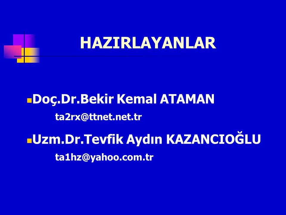 HAZIRLAYANLAR Doç.Dr.Bekir Kemal ATAMAN ta2rx@ttnet.net.tr Uzm.Dr.Tevfik Aydın KAZANCIOĞLU ta1hz@yahoo.com.tr