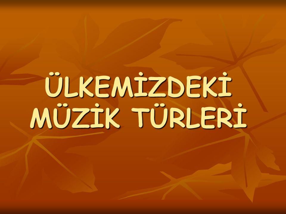 ÜLKEMİZDEKİ MÜZİK _TÜRLERİ_ Anadolu'da Selçuklular döneminden başlayarak günümüze kadar Türk müziği farklı gelişme alanları göstermiştir.
