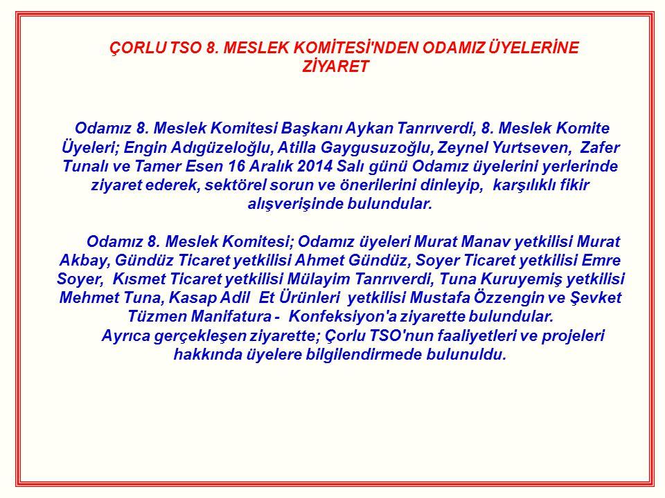 ÇORLU TSO 8. MESLEK KOMİTESİ NDEN ODAMIZ ÜYELERİNE ZİYARET Odamız 8.