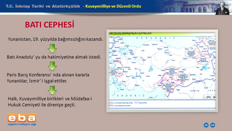 T.C. İnkılap Tarihi ve Atatürkçülük 2 - Kuvayımilliye ve Düzenli Ordu Yunanistan, 19. yüzyılda bağımsızlığını kazandı. Batı Anadolu' yu da hakimiyetin