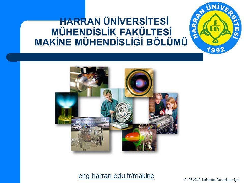 HARRAN ÜNİVERSİTESİ MÜHENDİSLİK FAKÜLTESİ MAKİNE MÜHENDİSLİĞİ BÖLÜMÜ eng.harran.edu.tr/makine 15.06.2012 Tarihinde Güncellenmiştir