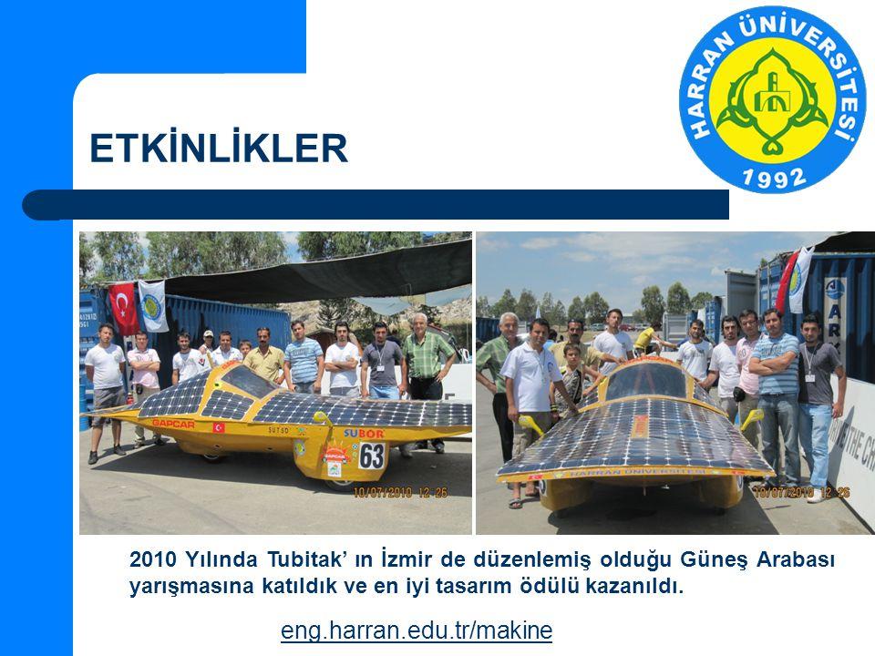 ETKİNLİKLER eng.harran.edu.tr/makine 2010 Yılında Tubitak' ın İzmir de düzenlemiş olduğu Güneş Arabası yarışmasına katıldık ve en iyi tasarım ödülü kazanıldı.