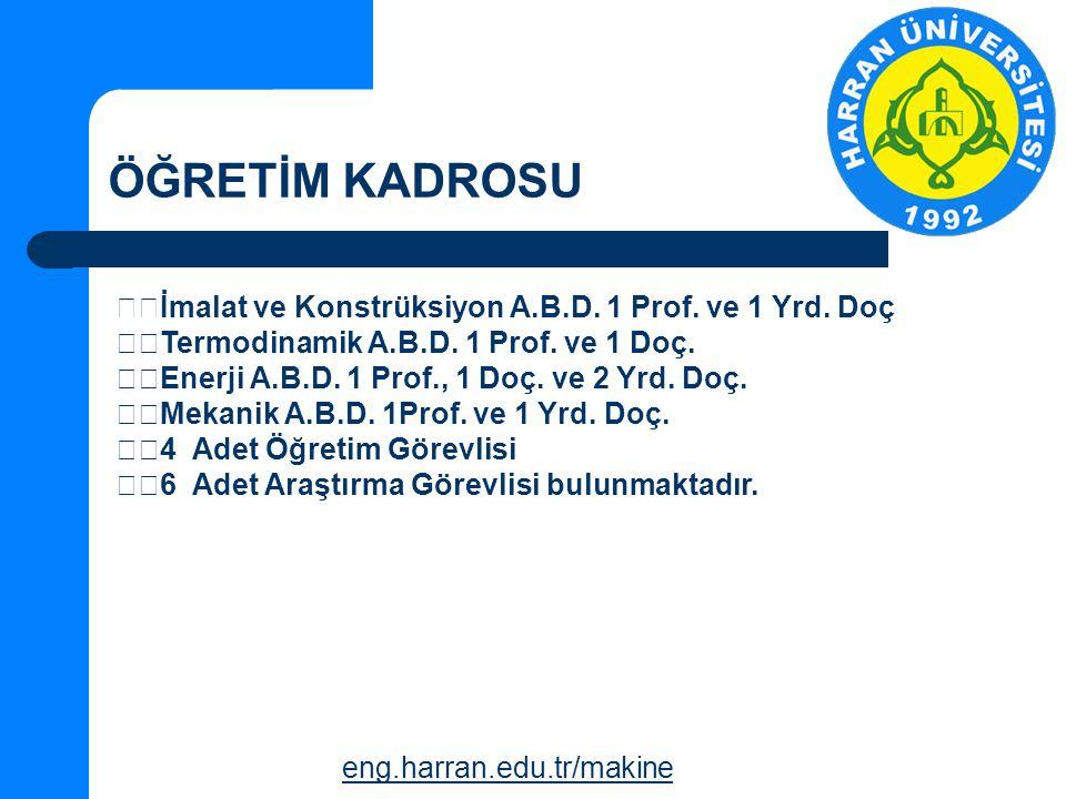 ÖĞRETİM KADROSU eng.harran.edu.tr/makine İmalat ve Konstrüksiyon A.B.D.