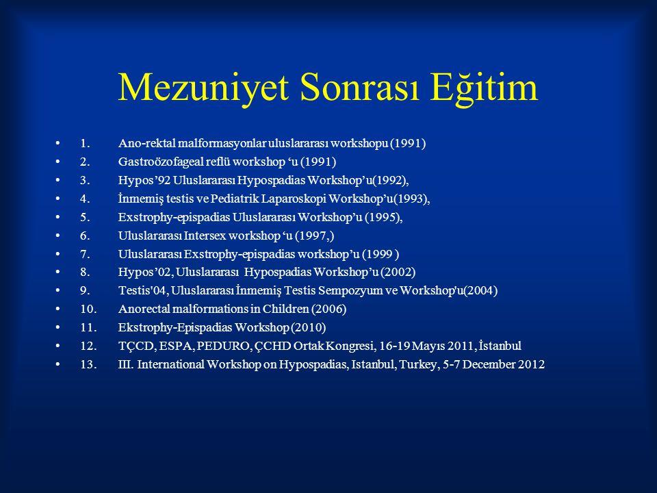 Mezuniyet Sonrası Eğitim 1.Ano-rektal malformasyonlar uluslararası workshopu (1991) 2.