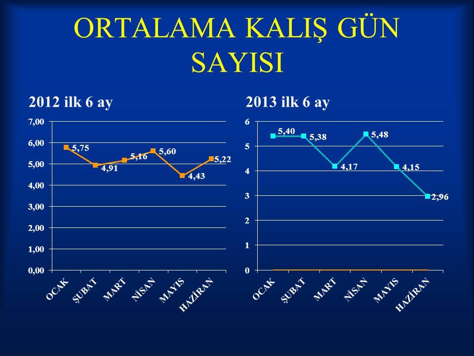 ORTALAMA KALIŞ GÜN SAYISI 2012 ilk 6 ay2013 ilk 6 ay