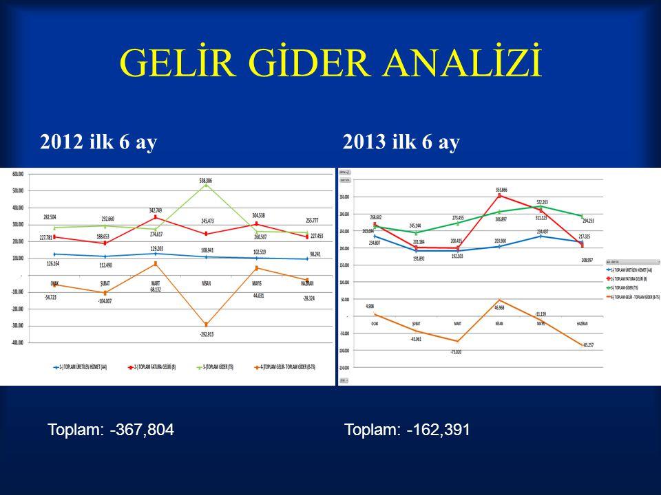 GELİR GİDER ANALİZİ 2012 ilk 6 ay2013 ilk 6 ay Toplam: -367,804Toplam: -162,391