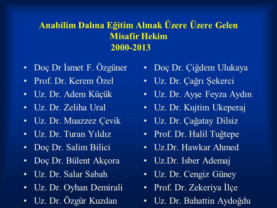 Anabilim Dalına Eğitim Almak Üzere Üzere Gelen Misafir Hekim 2000-2013 Doç Dr İsmet F.