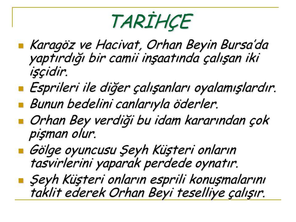 TARİHÇE Karagöz ve Hacivat, Orhan Beyin Bursa'da yaptırdığı bir camii inşaatında çalışan iki işçidir. Karagöz ve Hacivat, Orhan Beyin Bursa'da yaptırd