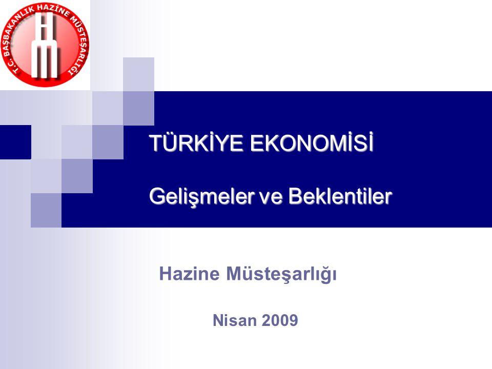 Nisan 2009 TÜRKİYE EKONOMİSİ Gelişmeler ve Beklentiler Hazine Müsteşarlığı