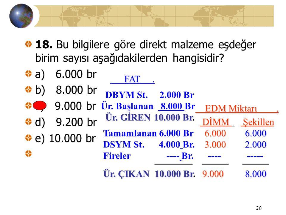 20 18. Bu bilgilere göre direkt malzeme eşdeğer birim sayısı aşağıdakilerden hangisidir? a) 6.000 br b) 8.000 br c) 9.000 br d) 9.200 br e) 10.000 br