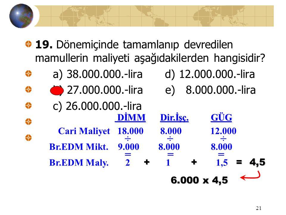 21 19. Dönemiçinde tamamlanıp devredilen mamullerin maliyeti aşağıdakilerden hangisidir? a) 38.000.000.-lira d) 12.000.000.-lira b) 27.000.000.-lira e