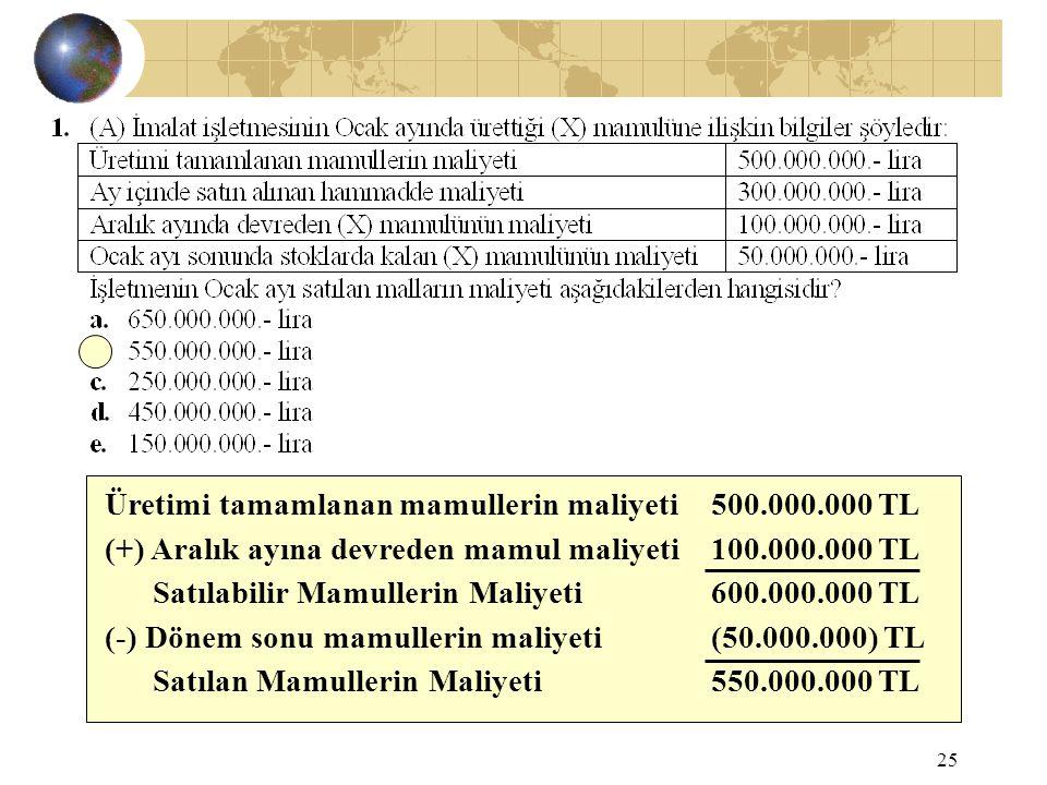 25 Üretimi tamamlanan mamullerin maliyeti500.000.000 TL (+) Aralık ayına devreden mamul maliyeti100.000.000 TL Satılabilir Mamullerin Maliyeti600.000.