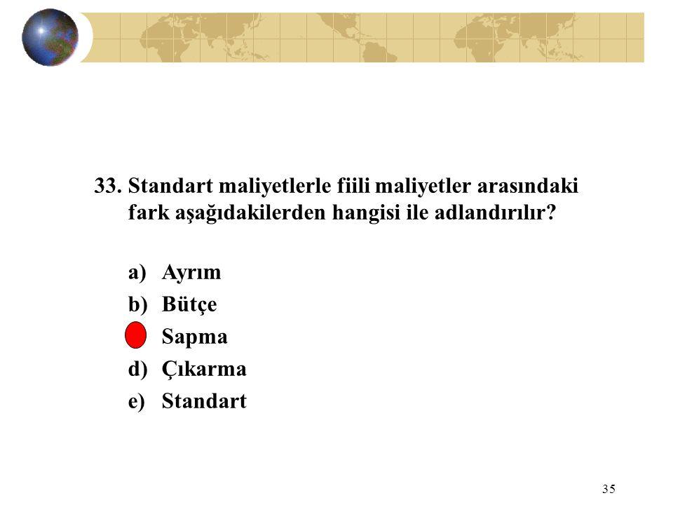 35 33. Standart maliyetlerle fiili maliyetler arasındaki fark aşağıdakilerden hangisi ile adlandırılır? a)Ayrım b)Bütçe c)Sapma d)Çıkarma e)Standart