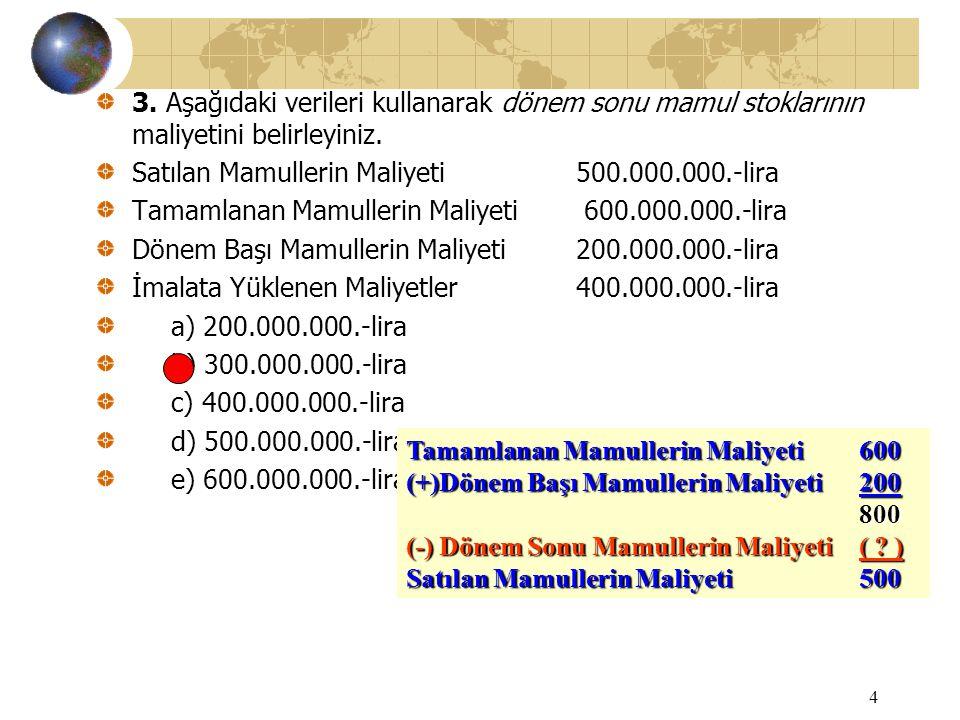 4 3. Aşağıdaki verileri kullanarak dönem sonu mamul stoklarının maliyetini belirleyiniz. Satılan Mamullerin Maliyeti500.000.000.-lira Tamamlanan Mamul