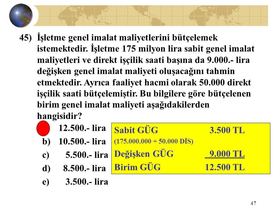 47 İşletme genel imalat maliyetlerini bütçelemek istemektedir. İşletme 175 milyon lira sabit genel imalat maliyetleri ve direkt işçilik saati başına d